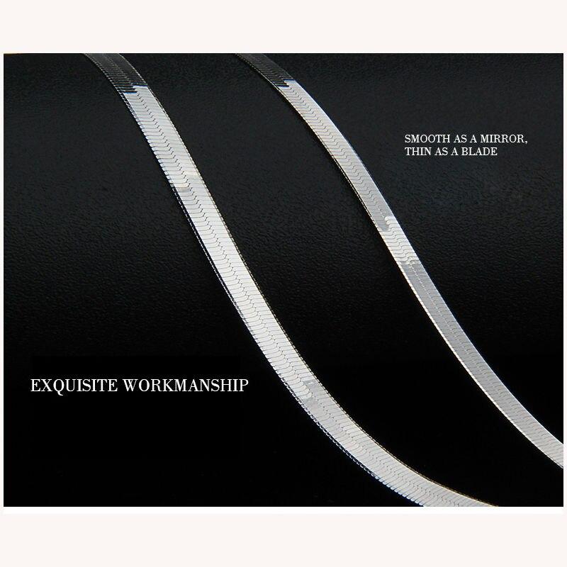 925 Sterling zilveren heren ketting platte dunne slangenketting 3-4 - Fijne sieraden - Foto 2