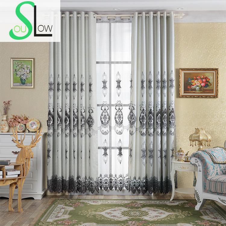 Hervorragend Langsam Seele Grau Gold Europäischen Stil Wasserlösliche Hohl Stickerei  Vorhang Europa Vorhänge Tüll Für Wohnzimmer Küche
