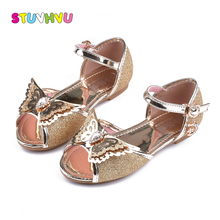 Girls sandals summer kids shoes 2018 fashion girl gold pink blue silver party princess shoes children sandals wings flats shoes