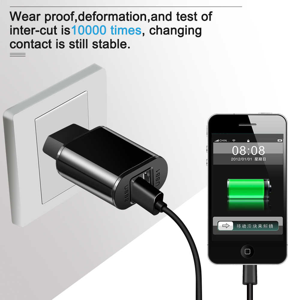 Proelio شاحن USB مزدوج 5 فولت 2A المحمول سريع مهايئ شاحن الهاتف ل فون × 8 7 زائد سامسونج Xiaomi المصغّر usb كابل