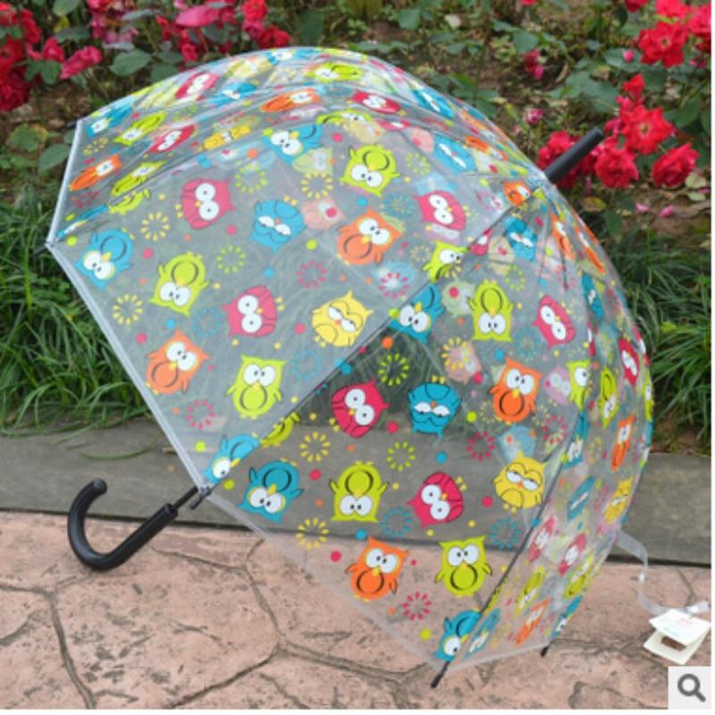 2018 moda búho paraguas lluvia mujeres mango largo paraguas seta Paraguas transparente PVC parapluie transparente
