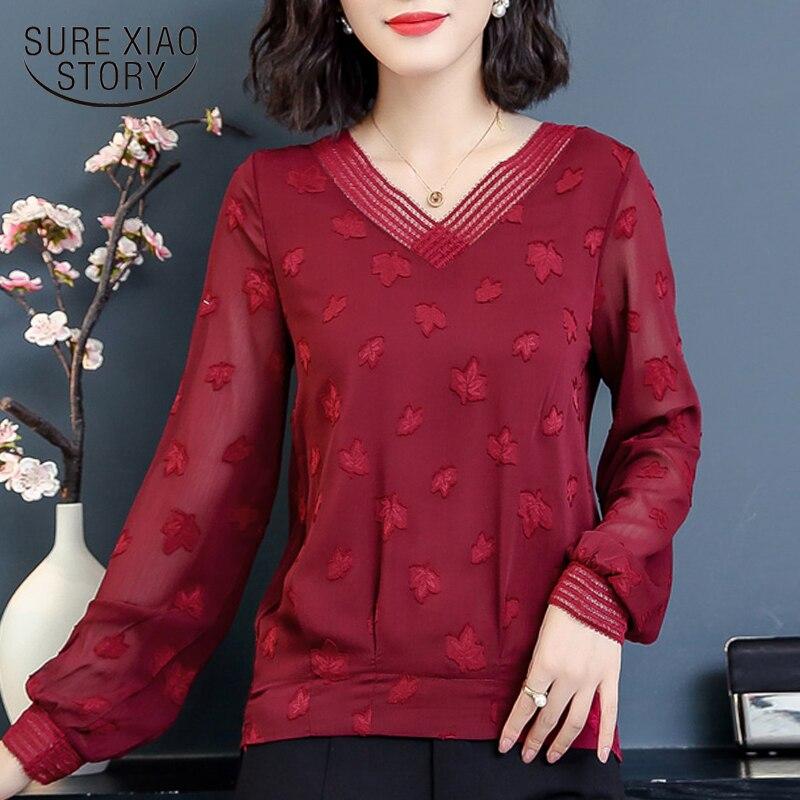 Plus size womens tops and   blouses   female clothes blusas mujer de moda 2018 long sleeve chiffon   blouse     shirt   women   shirts   1339 45