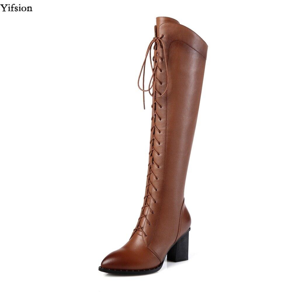 Olomm/Женские зимние кожаные сапоги до колена обувь на высоком квадратном каблуке офисная обувь с острым носком черного и коричневого цвета ж