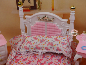 Image 4 - Genuine furniture bedroom for barbie princess bed doll accessories 1/6 bjd doll house mini dresser cupboard set child toy gift