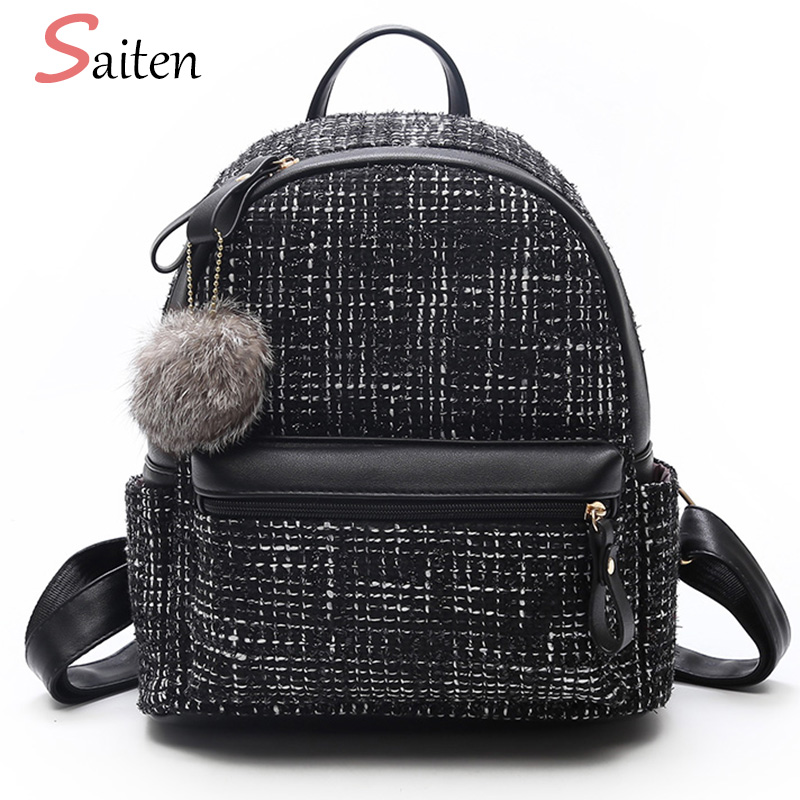 High Quality Wool Women Backpack Fur Ball Casual Female Backpacks Winds Stripes School Bags For Teenager Girls Ladies Winter Bag backpack women school bags brand backpacks women high quality large capacity teenager backpacks for teenage girls student bags