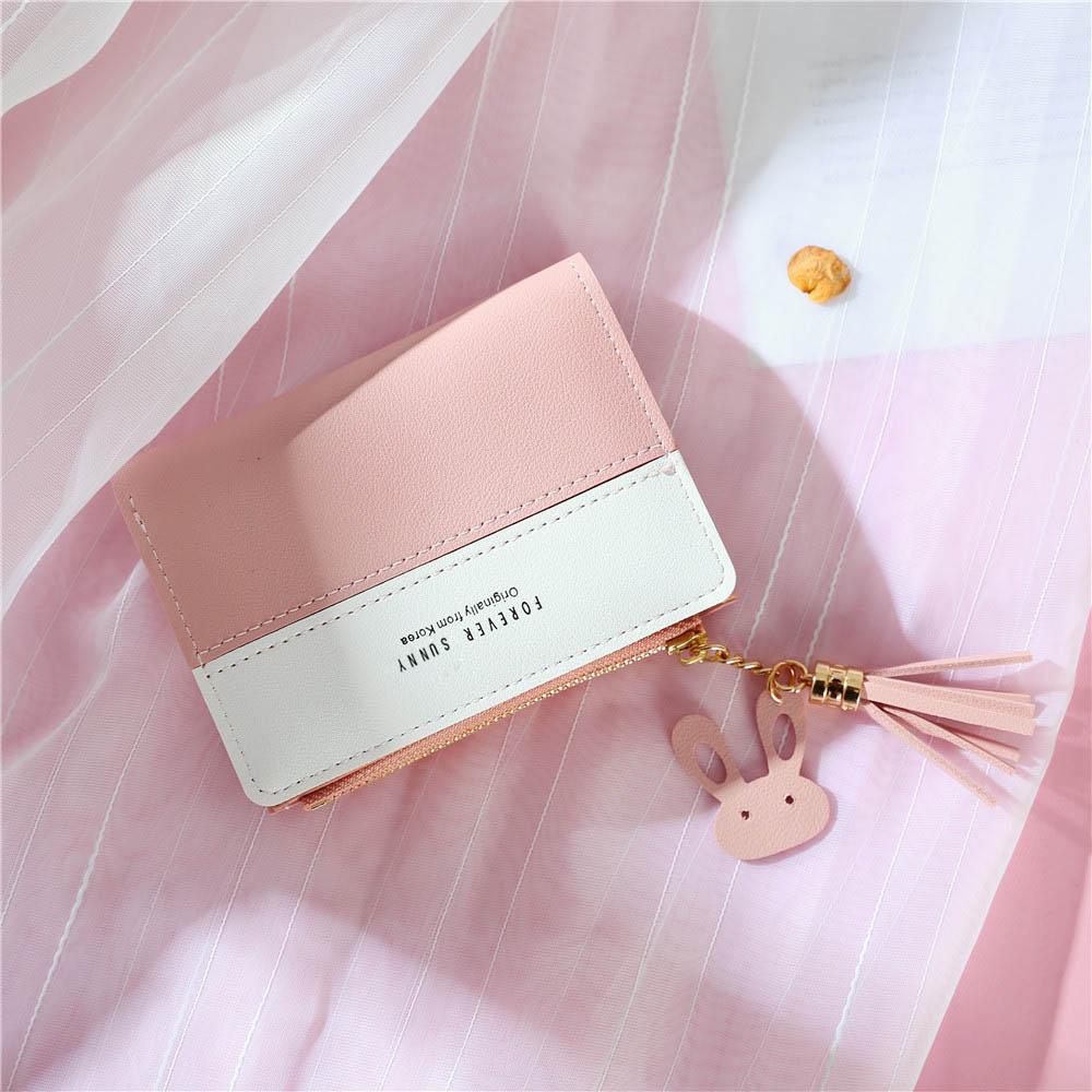Short Wallet Purse Card-Holder Money-Bag Panelled Letters Tassel Zipper Pink Small Soft