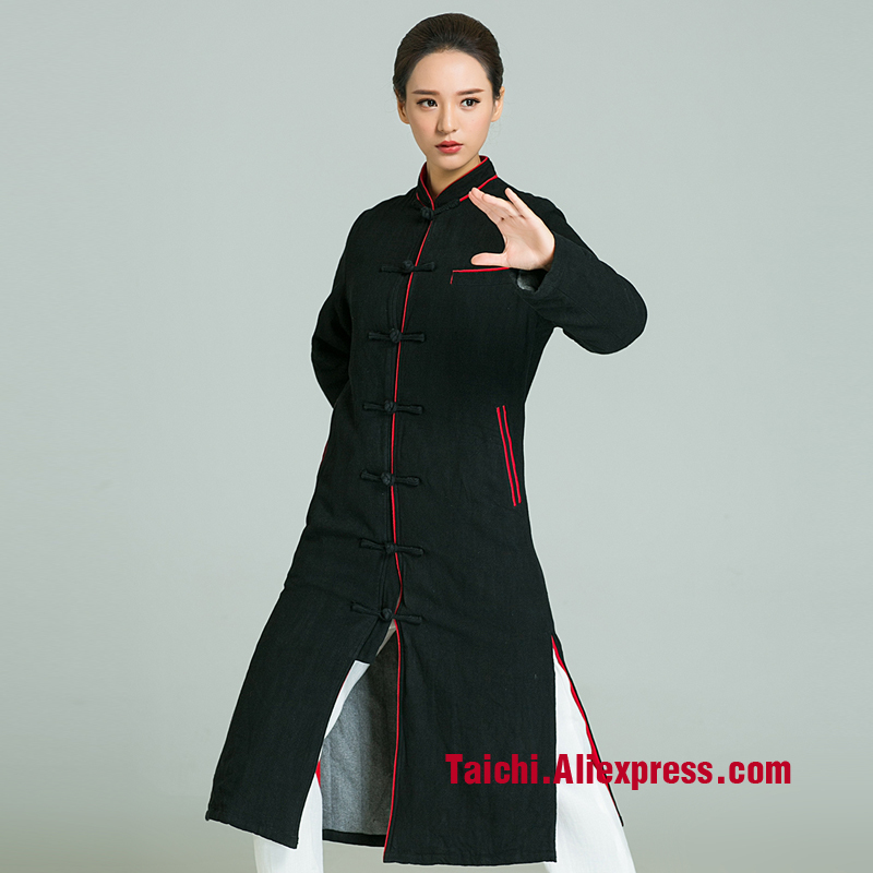Winter Tai Chi Clothes Thicker Robe male Handmade Linen Tai Chi Uniform Wushu Kung Fu martial Art Suit