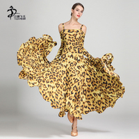 Leopard Grain Ballroom Dance Dress Women Standard Dance Dresses