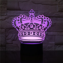 Pretty Baby Led Night Lamp Crown Nightlight for Child Bed Room Battery Operated Usb 3d Girl Birthday Gift Light
