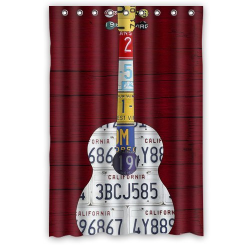 License Plate Guitar Print Shower Curtains 66\