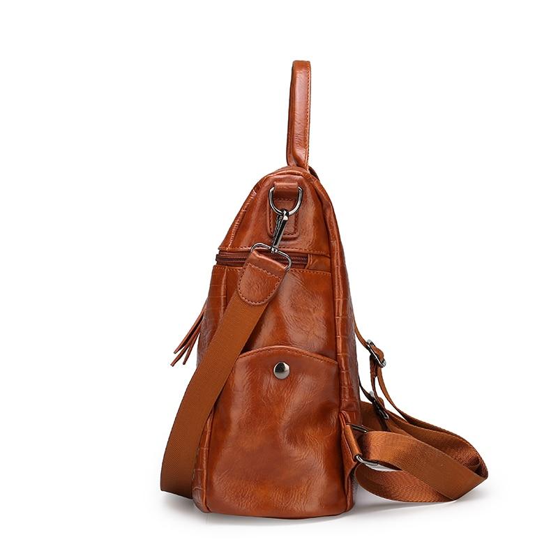 Vintage Crocodile pattern Leather Backpacks For Women Fashion Zipper big capacity Back Pack Girls 39 Backpack Female Shoulder Bag in Backpacks from Luggage amp Bags