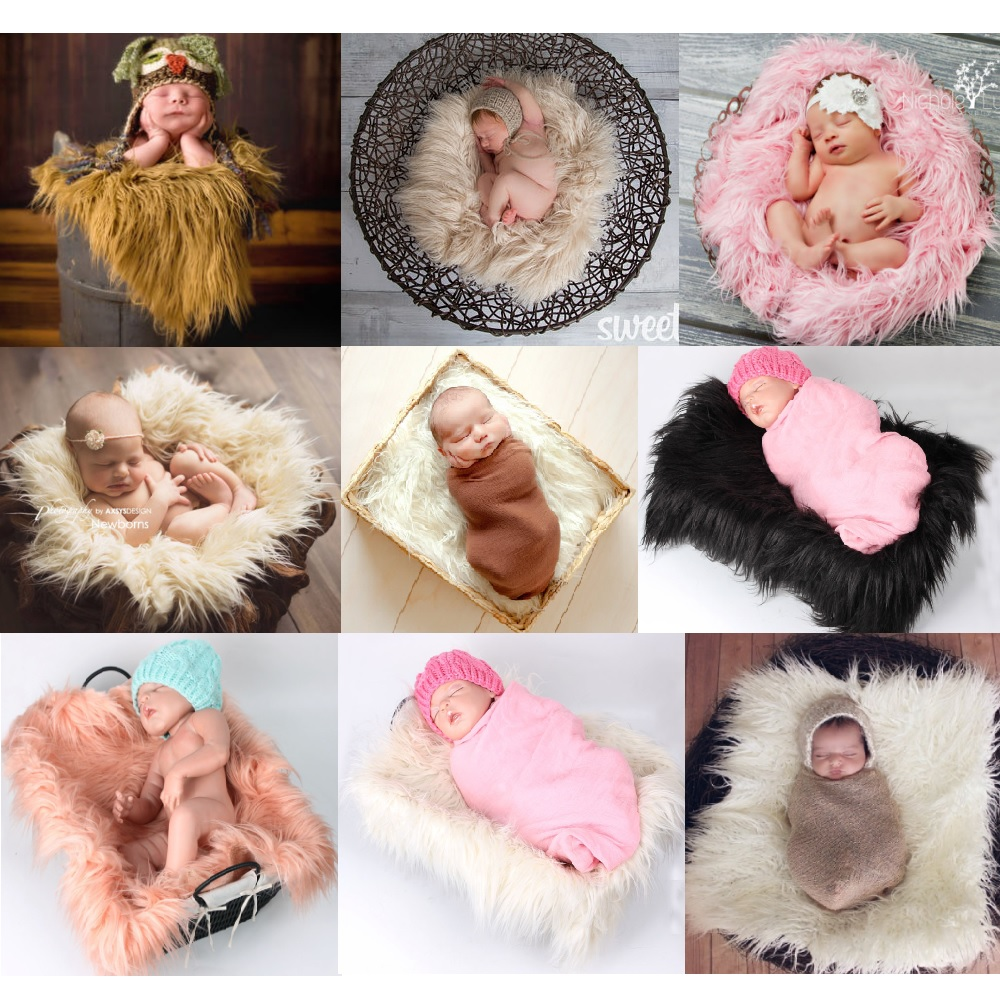 50*60CM Newborn Receiving Blanket Fur Solid Photography Props Mat Baby Sleeping Carpet Soft Infant Swaddling Towel Photo Fluff