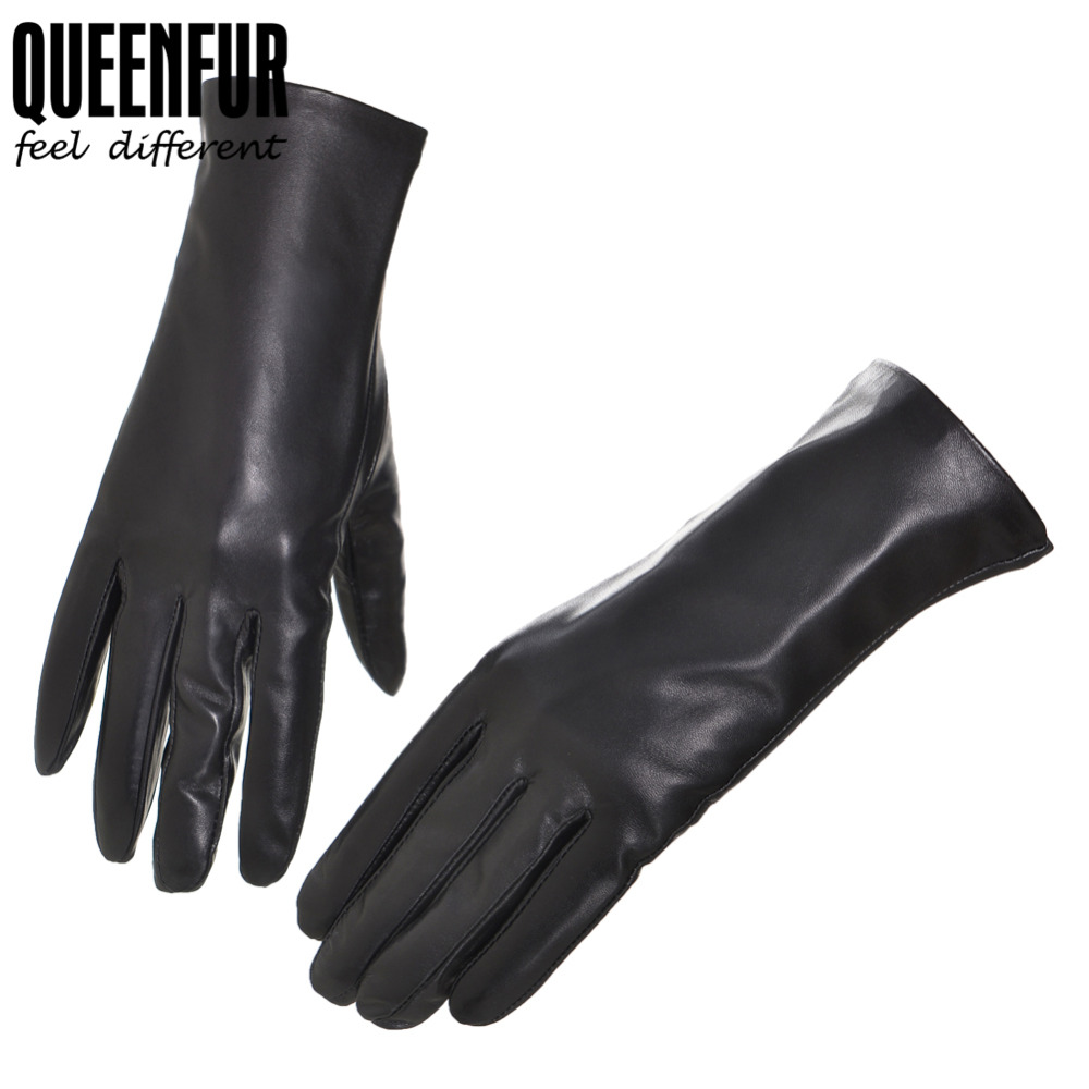 High quality womens leather gloves - Women Touch Screen Leather Gloves Genuine Sheepskin Gloves Winter Female Driving Black Goatskin Mittens High Quality Lady Gloves