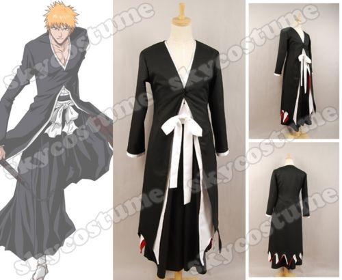 Bleach Ichigo Kurosaki Bankai Halloween Cosplay Costume Tensa Zangetsu Outfit For Men