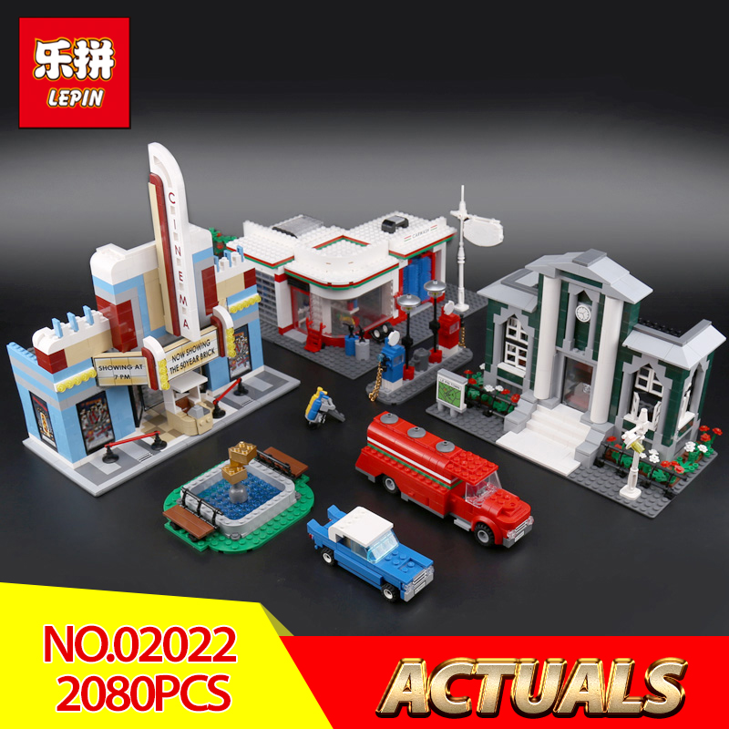 Lepin 02022 2080Pcs City Compatible With Legoing 10184 Town Plan Set Building Blocks Bricks Educational Toys DIY Birthday Gifts anniversary set town plan lepin cinema service station lamppost vehicle 02022 city diy building blocks bricks toys 10184 2080pcs