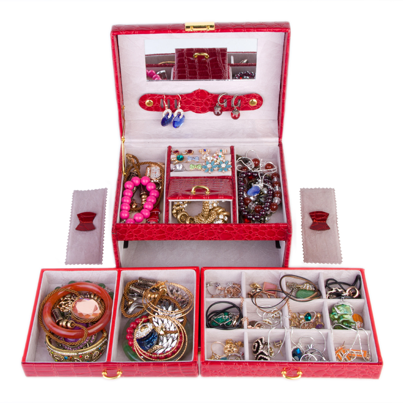 guanya Jewelry Packaging & Display Box 3 layers Jewelry Box Storage Case Necklace Ring Jewellery Display Container Organizer цена в Москве и Питере