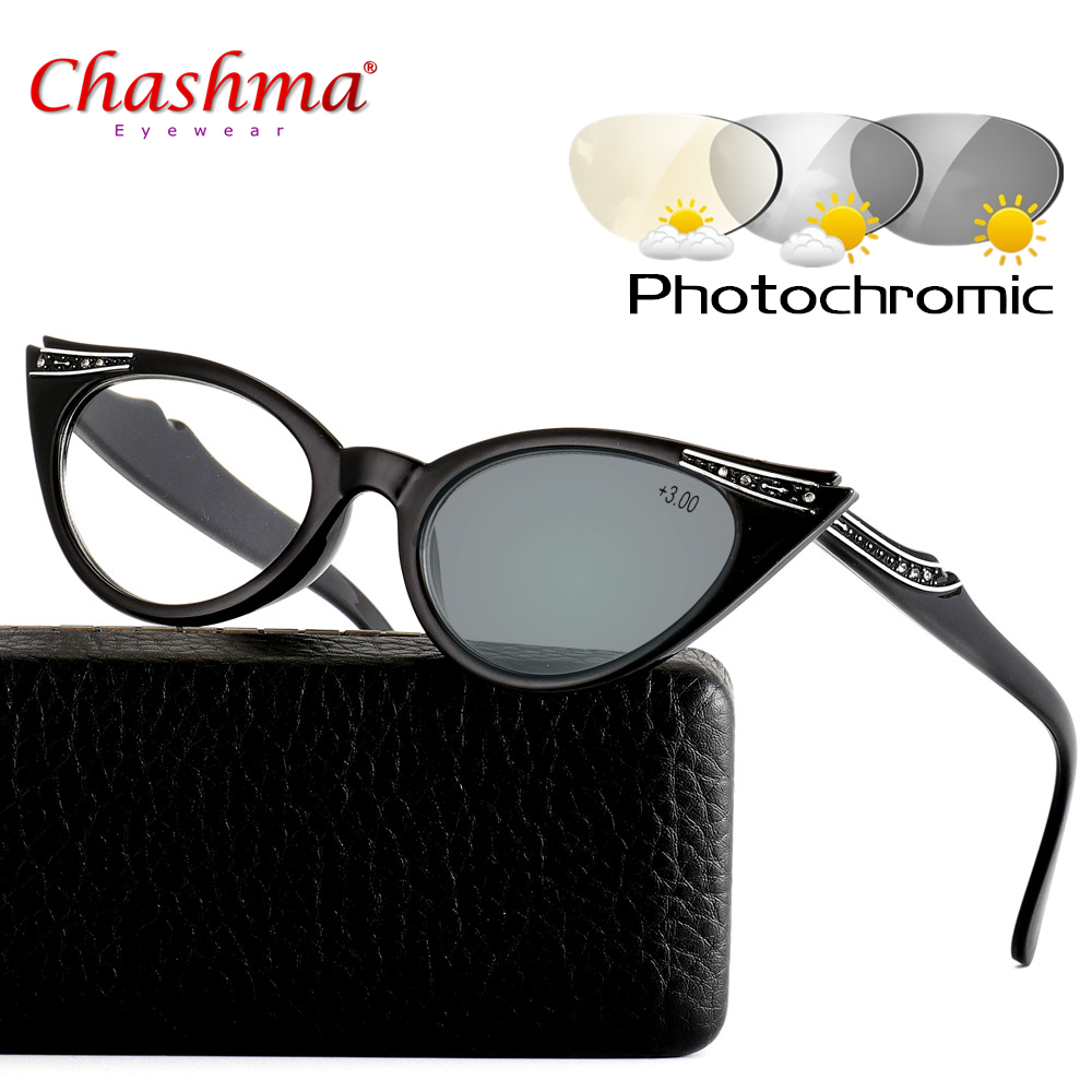 Cat Eye Glasses Sunglasses Photochromic Reading Women Hyperopia Presbyopia with diopters Outdoor