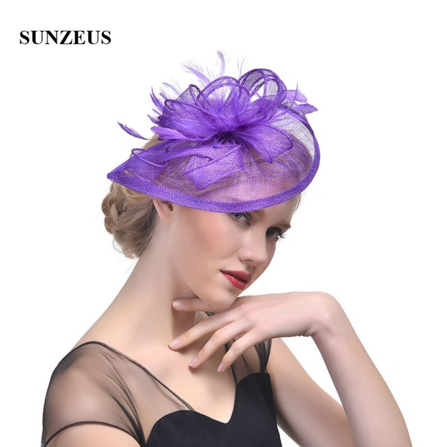 72f9c1fa Linen Feathers Wedding Hats Colorful Bridal Hats 2018 Wedding Accessories  Women's Formal Occasion Hair Accessories SH34