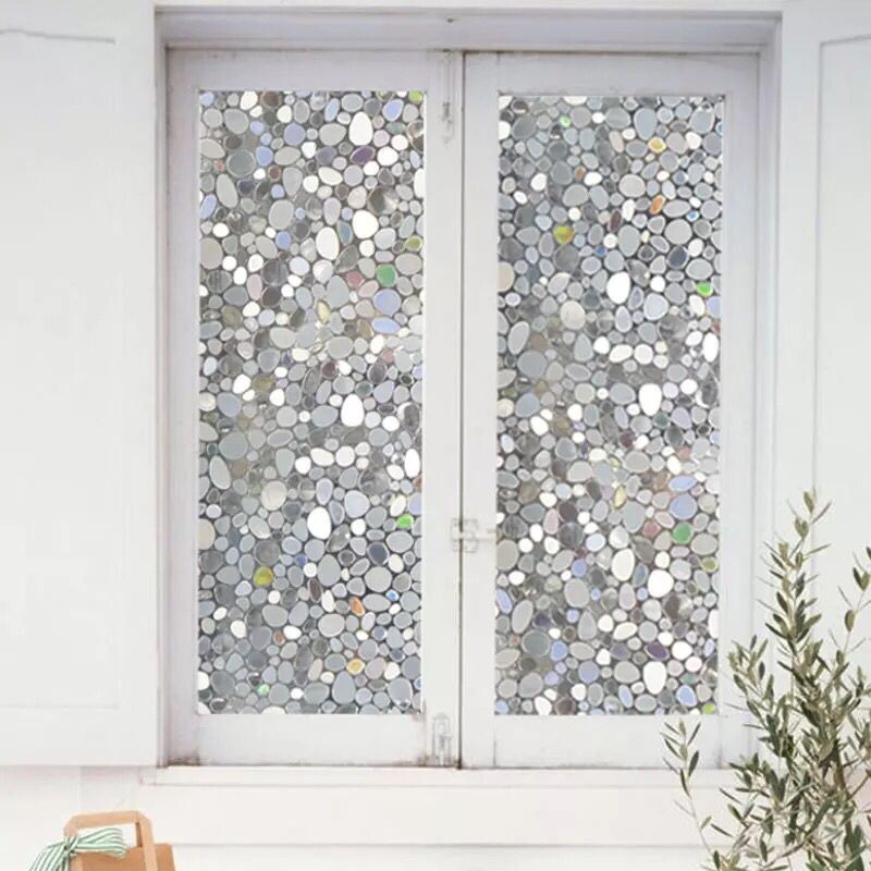 Colorful Cobblestone Static Cling Opaque Self Adhesive Window Film