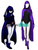 Custom Made Teen Titans Raven Cosplay Costume Outfit Black And Purple Lycra Female/Girl Halloween Zentai Bodysuit With Cape