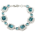 "Fashion Rich Blue Aquamarine, White CZ Created SheCrown Woman's Wedding   Silver Bracelet 8"" 30x16mm"