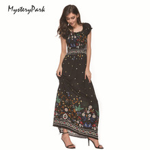 MysteryPark Boho Off Shoulder Split Summer Dress Women Vintage Floral Print Chiffon Maxi Dress Sexy Beach Long Dress Vestidos