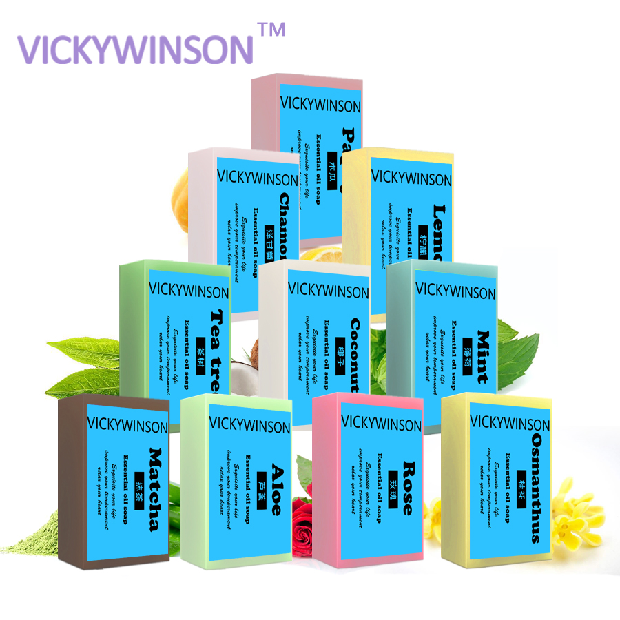Купить с кэшбэком VICKYWINSON Natural Essential Oils Handmade Soap Whitening Skin Remove Acne Cleaning Dirt Anti Aging Men/women Skin Care 50