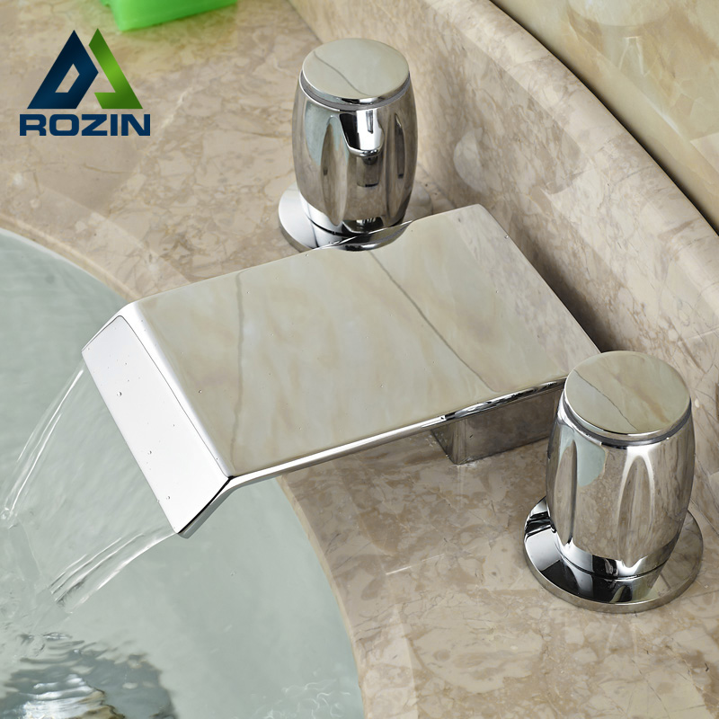 Polished Chrome Widespread Basin Faucet Deck Mounted Dual Handle Washing Basin Mixers with Hot and Cold Water pastoralism and agriculture pennar basin india