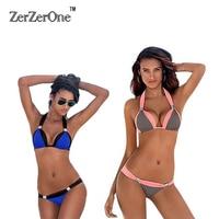 Bikini 2016 Sexy Swimsuit 5 Color Halter Top Female Swimwear Women Beach Bathing Suit Swim Push