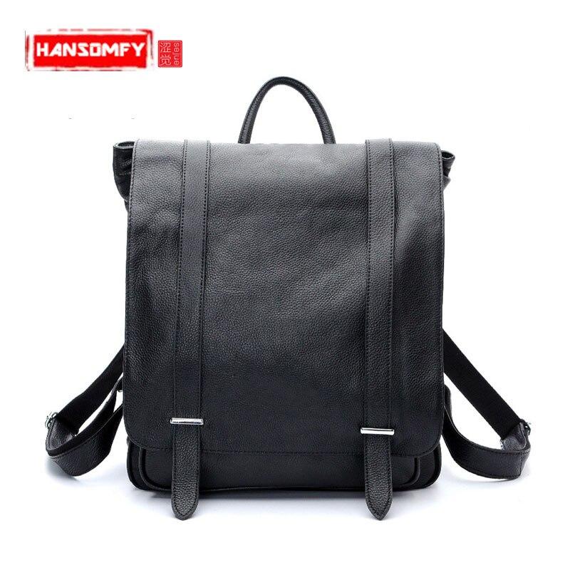 New Men Backpacks Explosive fashion Korean version of the multi - purpose men 's shoulder bag head layer of leather backpack bag цены