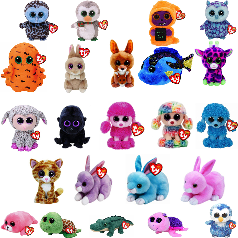 """Pyoopeo Ty Beanie Boos 6"""" 15cm Poodle Owl Fish Bunny Penguin Turtle Lamb Plush Big-eyed Stuffed Animal Doll Toy With Heart Tag"""