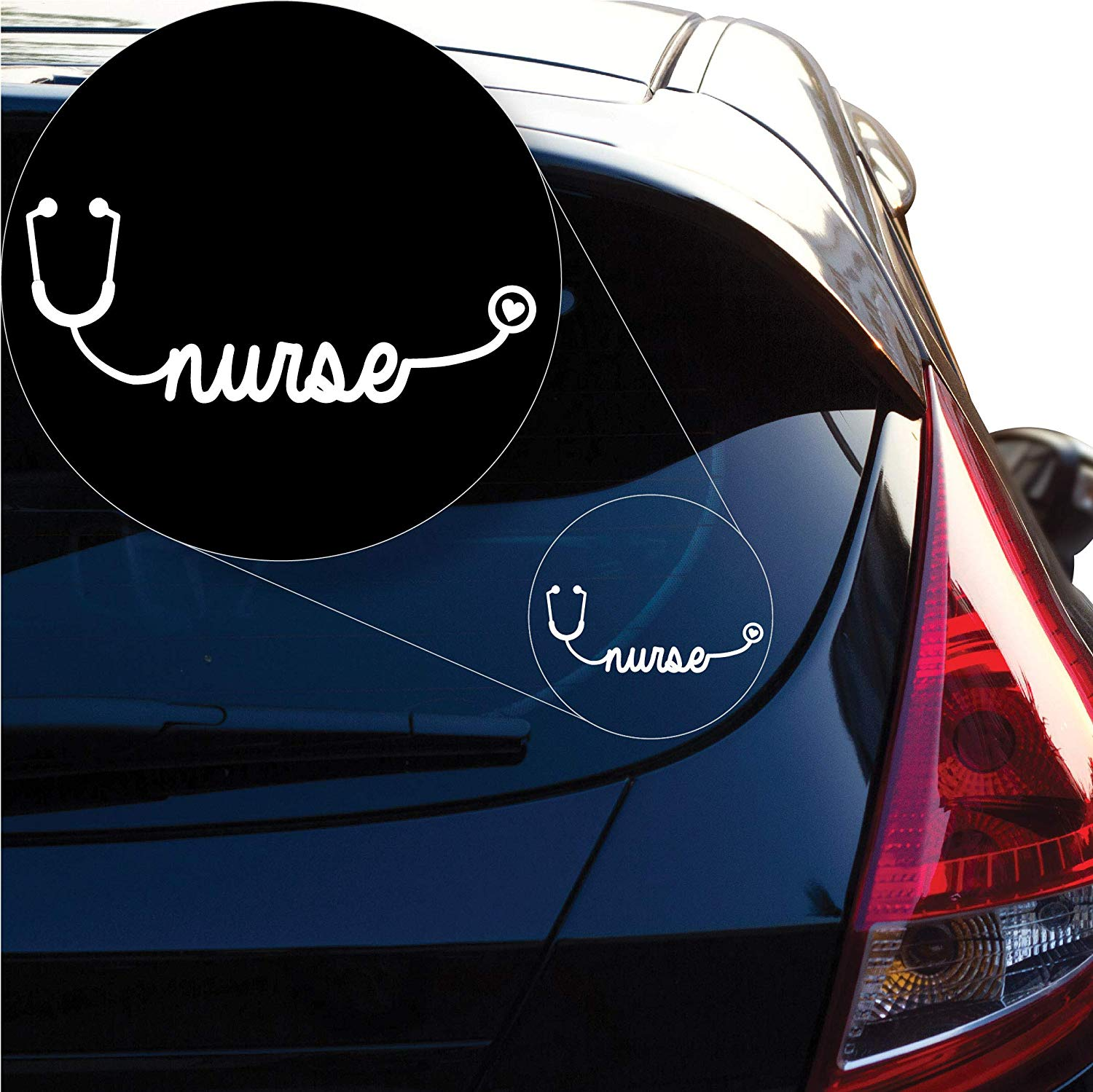 Yoonek Graphics Nurse Stethoscope Decal Sticker Car Window Laptop More 1305 3 quot x 7 4 quot White in Car Stickers from Automobiles amp Motorcycles