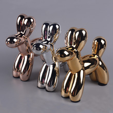 Ceramic animal dog put a Nordic home decoration on gold silver balloon plating
