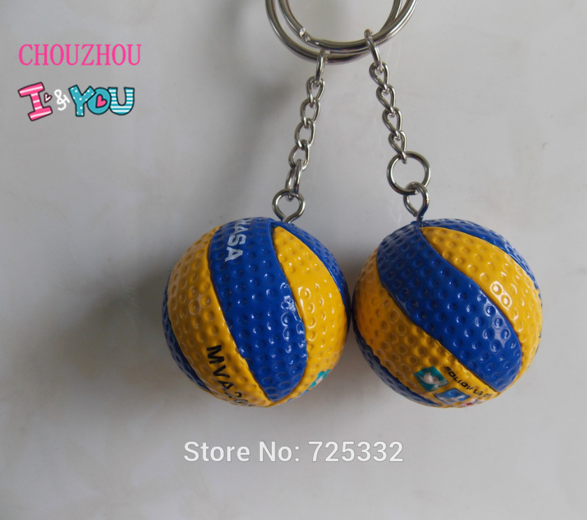 20pcs/lot  Volleyball Key Ring  PVC 3.7 cm key chain Friend gifts 4 color