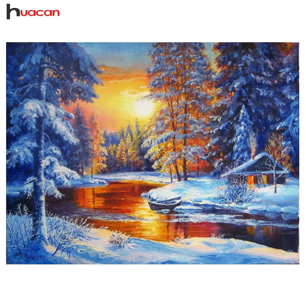 HUACAN 5D Inverno Neve Diamante Pittura A Punto Croce Kit FAI DA TE Diamante Ricamo Paesaggio Immagine di Strass Decorazione Della Casa