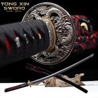 New Japanese Samurai Katana Sword T10Steel Clay Tempered Real Hamon Full Tang Bo hi Shinogi Zukuri Blade Sharp Battle Ready