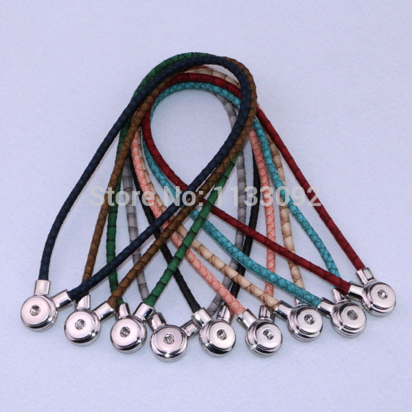 10pcs lot Mix colors New Pu leather snap button magnetic clasp necklace pendant Free shipping 9colors