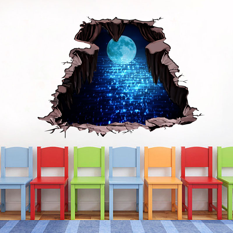 3D Blue Star Space Moon wall sticker Kids room bathroom Living Room Cosmos planet Floor stickers Wall Decals Home Decor in Wall Stickers from Home Garden