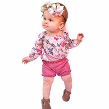 Toddler Baby Floral Clothes Peacock Butterfly Jumpsuit+Short Pants Set Outfits(China)