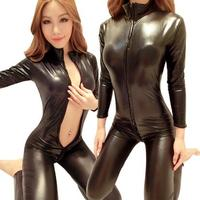Woman Black Sexy Bodysuit Costume Fantasias Sexy Latex Catsuit With Zipper To Crotch Long Sleeve Pvc
