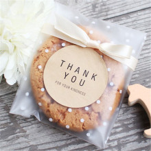 100pcs/lot Translucent dots Plastic cookie packaging Bags Cupcake Wrapper self Adhesive bag For Wedding Party Decorate VBT81P40