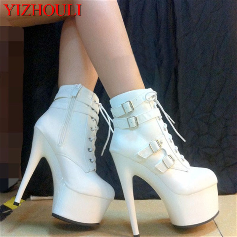 women motorcycle boots fashion short boots buckle ankle boots 15cm high heels Platform shoes classic strappy winter boots black
