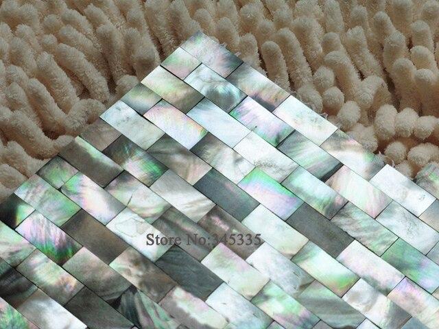 Moda labbro nero sea shell naturale shell mosaico madreperla carta