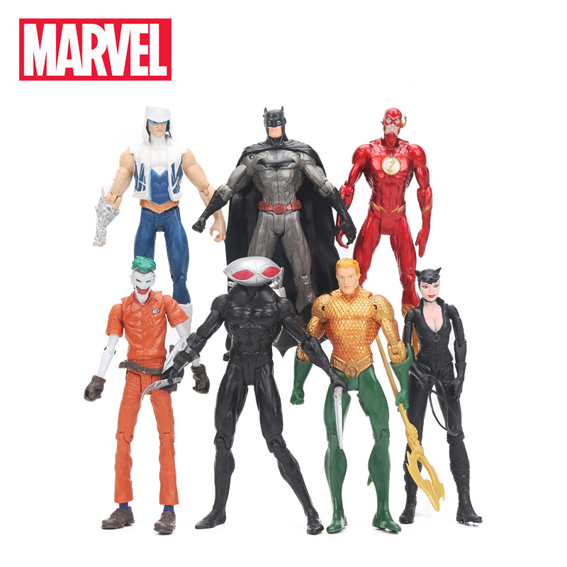 7pcs/set 16.5-18cm Marvel Toys The Avengers Figure Set Batman Joker Flash Catwoman Aquaman Captain Black Manta Collection Model
