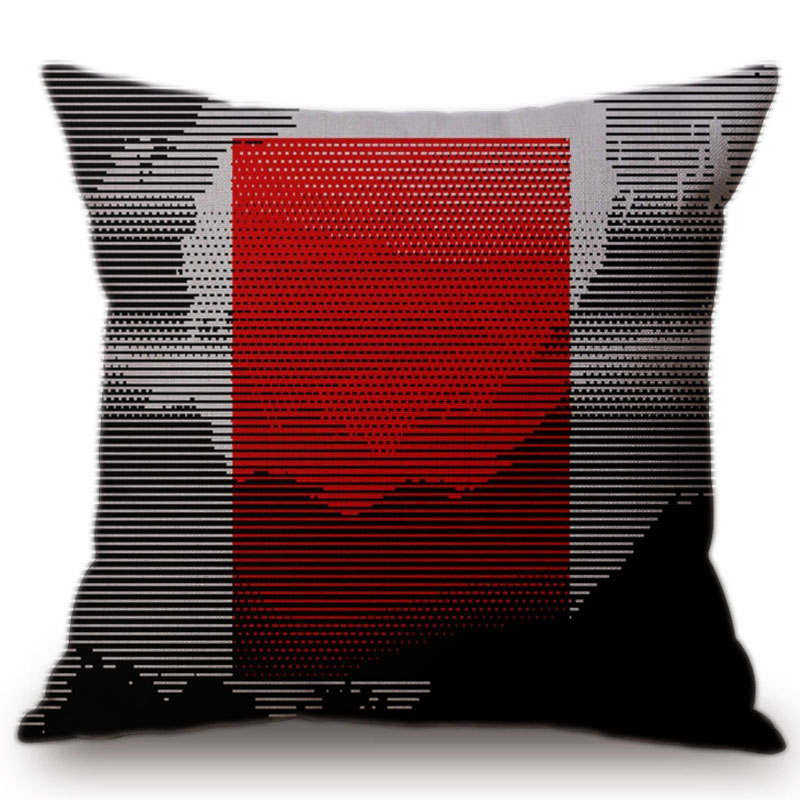 Contemporary Sofa Geometric Pillows: Modern Geometric Cushion Cover Red Pillow Decorative
