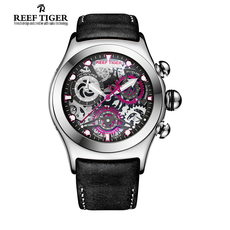 Reef Tiger/RT Mens Sport Watches with Chronograph Skeleton Dial Date Three Counters Steel Watch RGA792 2017 reef tiger rt mens designer chronograph watch with date calfskin nylon strap luminous sport watch rga3033