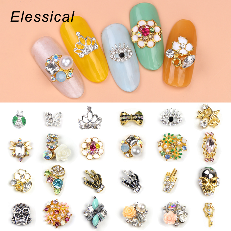 10pcs lot rhinestone 3d alloy nail