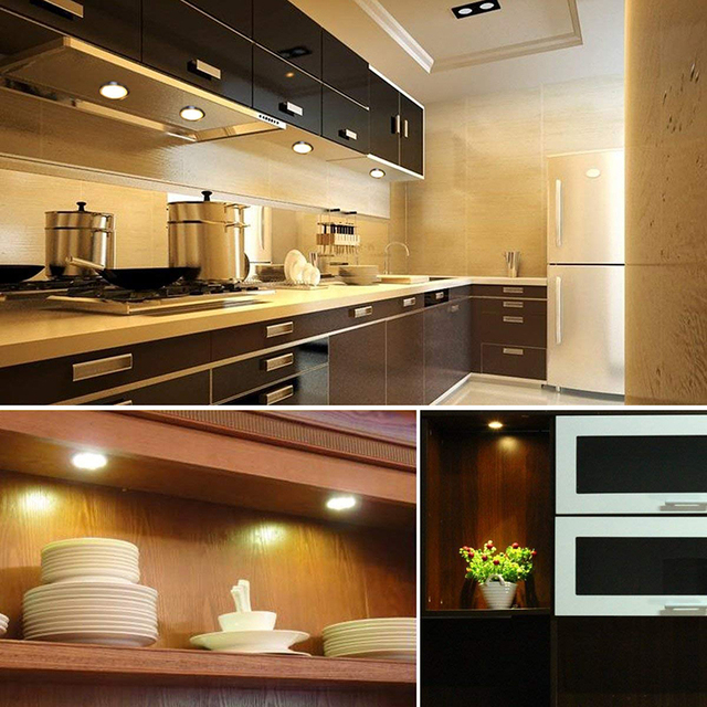 Wireless Dimmable LED Under Cabinet Light Aluminum LED Puck Light Kitchen Lights for wardrobe Counter Furniture Shelf Lighting