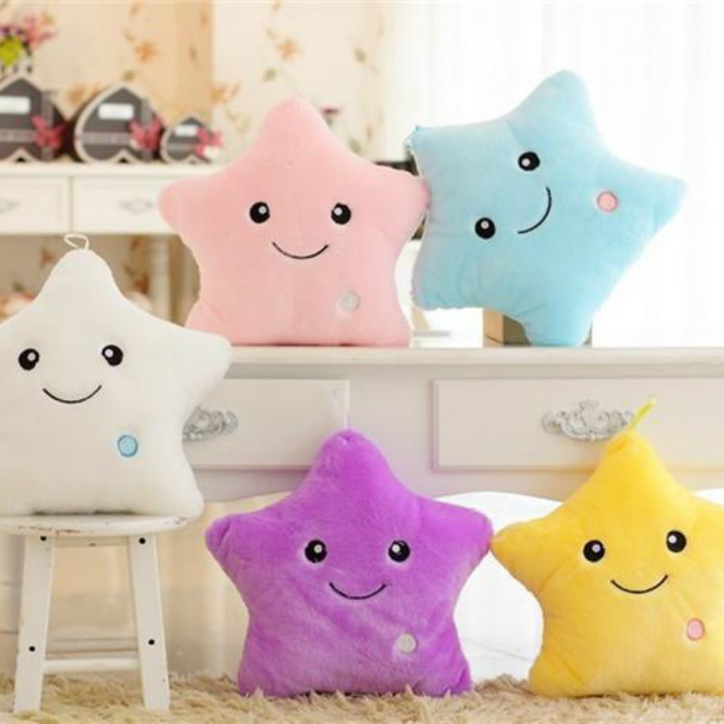 Cute Colorful Luminous Hold Pillow Lovely Pentagram Toy Home Sofa Decoration Gift for Girl Baby Toys 15.7in