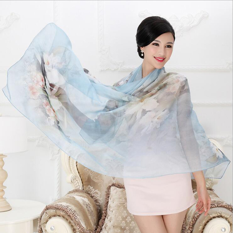 Image 4 - 2018 High quality 100% mulberry silk scarf natural real silk Women Long scarves Shawl Female hijab wrap Summer Beach Cover ups-in Women's Scarves from Apparel Accessories